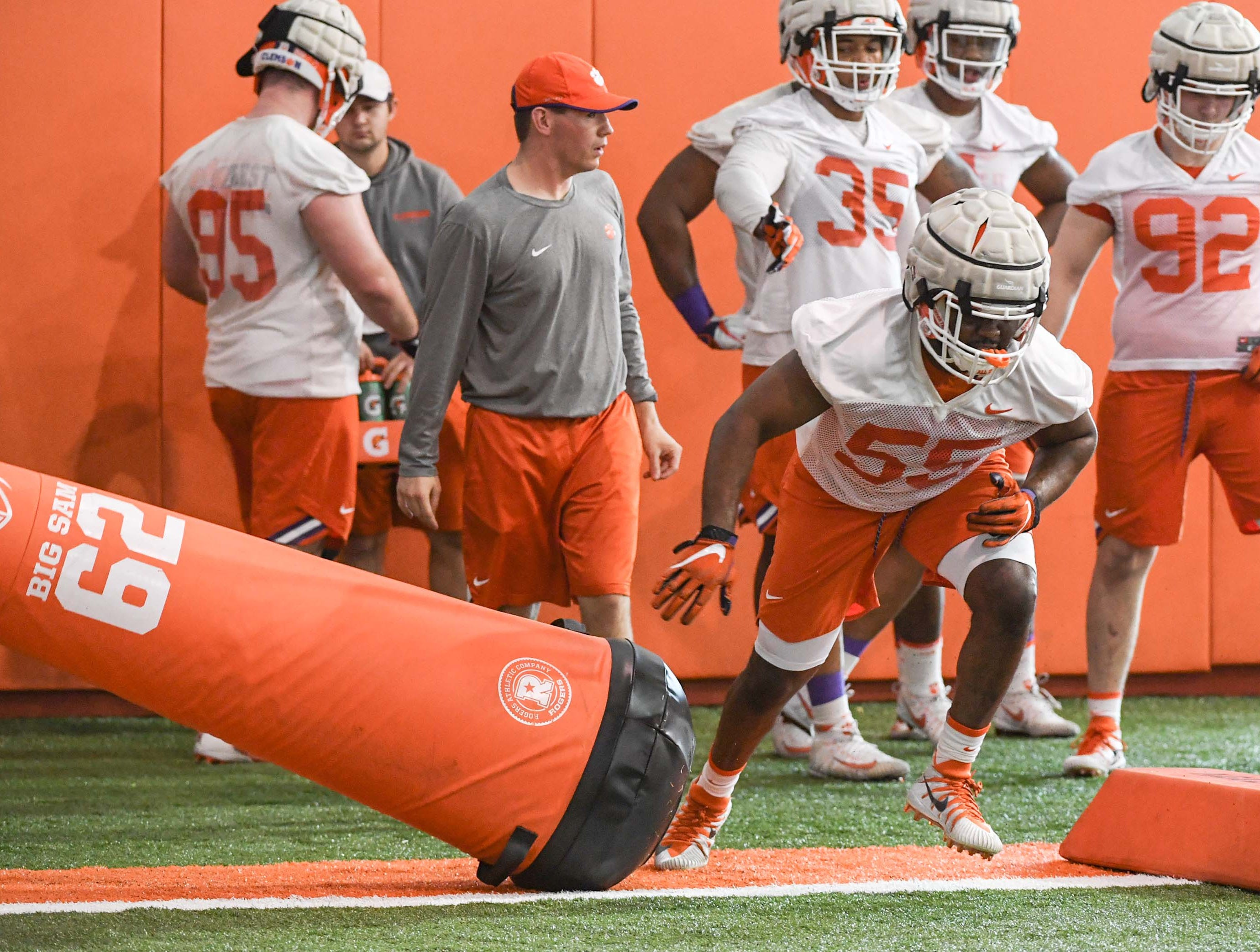 Clemson defensive lineman Stan Jones Jr. (55) during the first practice at the Clemson Indoor Practice Facility in Clemson Wednesday, February 27, 2019.