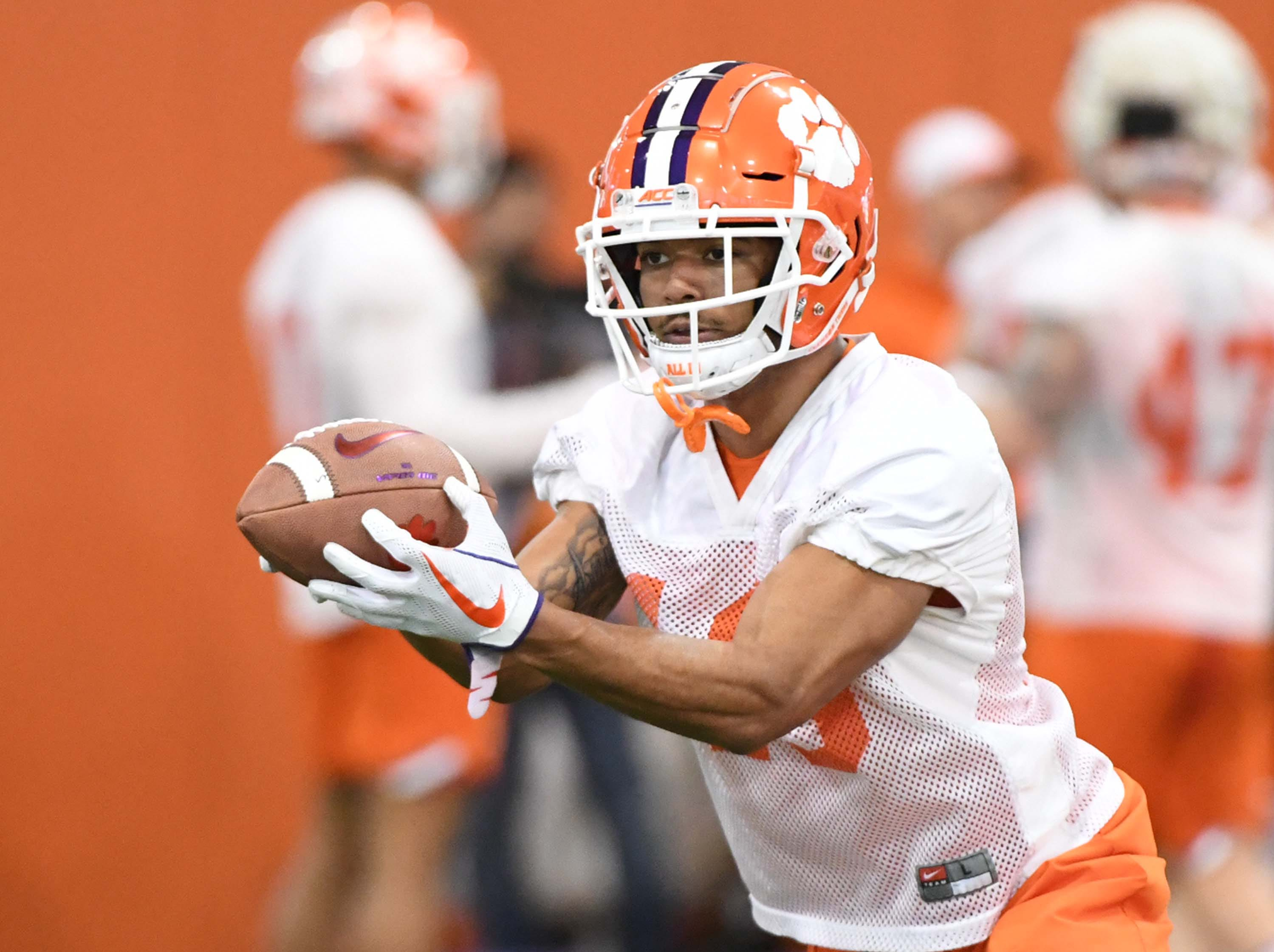 Clemson defensive back Joseph Charleston (18) catches a ball during the first practice at the Clemson Indoor Practice Facility in Clemson Wednesday, February 27, 2019.