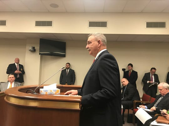 Spartanburg Sheriff Chuck Wright defends civil forfeiture during a House Judiciary subcommittee hearing on Thursday, Feb. 28, 2019.