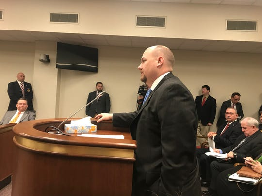 Jarrod Bruder, executive director of the South Carolina Sheriff's Association, defends civil forfeiture at a House subcommittee hearing on Thursday, Feb.28, 2019.