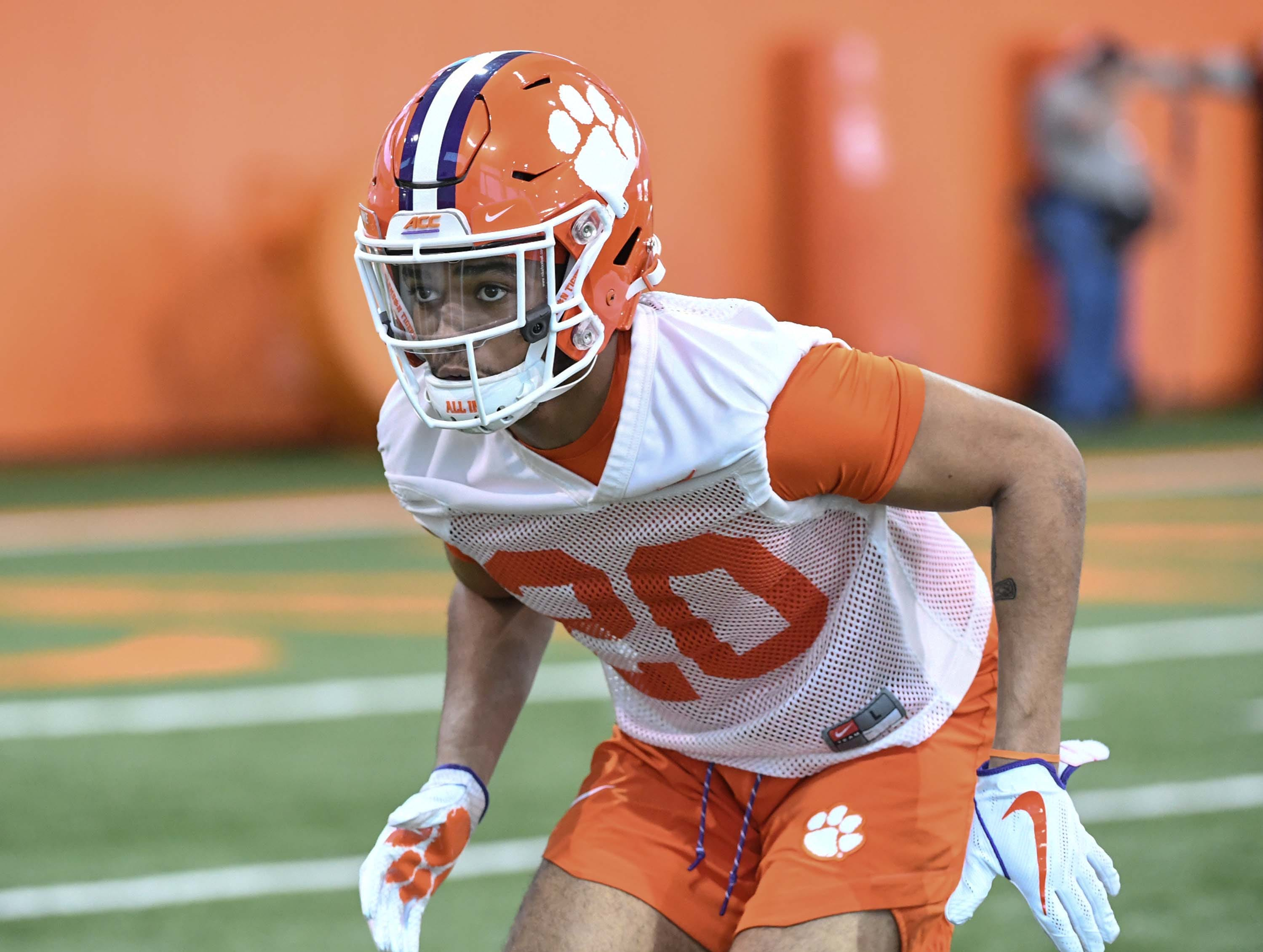 Clemson defensive back LeAnthony Williams (20) during the first practice at the Clemson Indoor Practice Facility in Clemson Wednesday, February 27, 2019.
