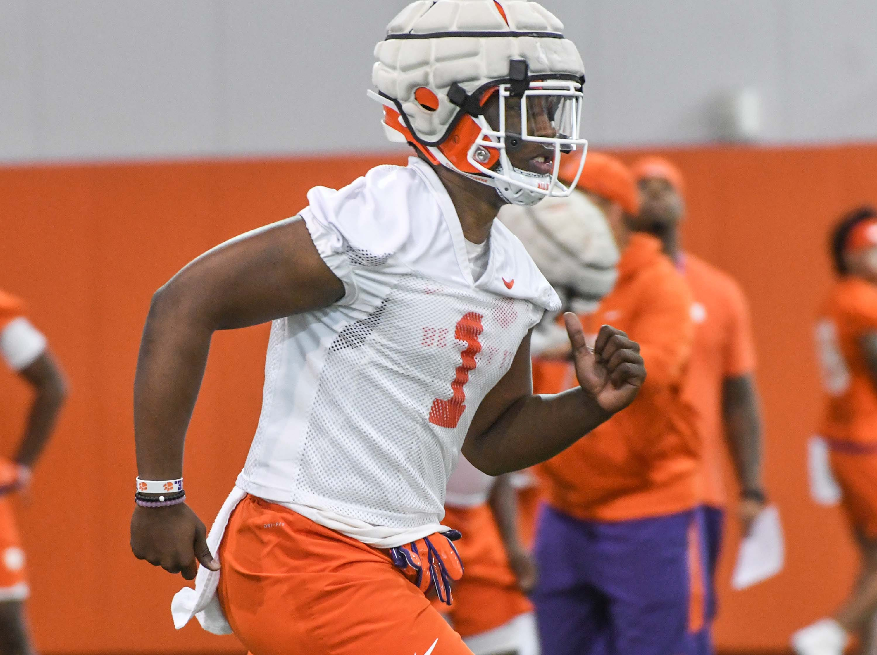 Clemson defensive end K.J. Henry (1) during the first practice at the Clemson Indoor Practice Facility in Clemson Wednesday, February 27, 2019.