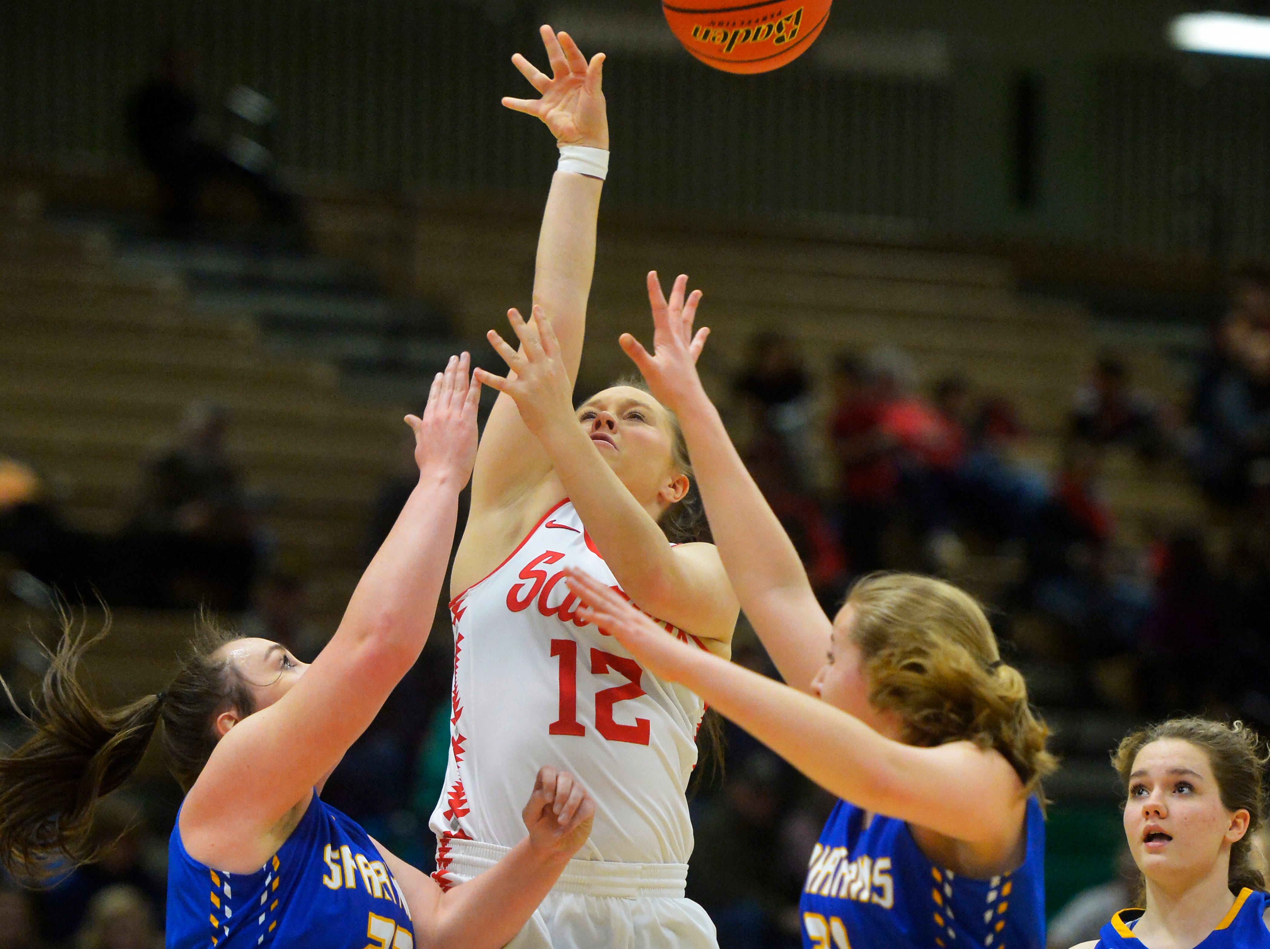 Arlee and Scobey play in the first round of the Girls State C Basketball Tournament on Thursday in the Four Seasons Arena.