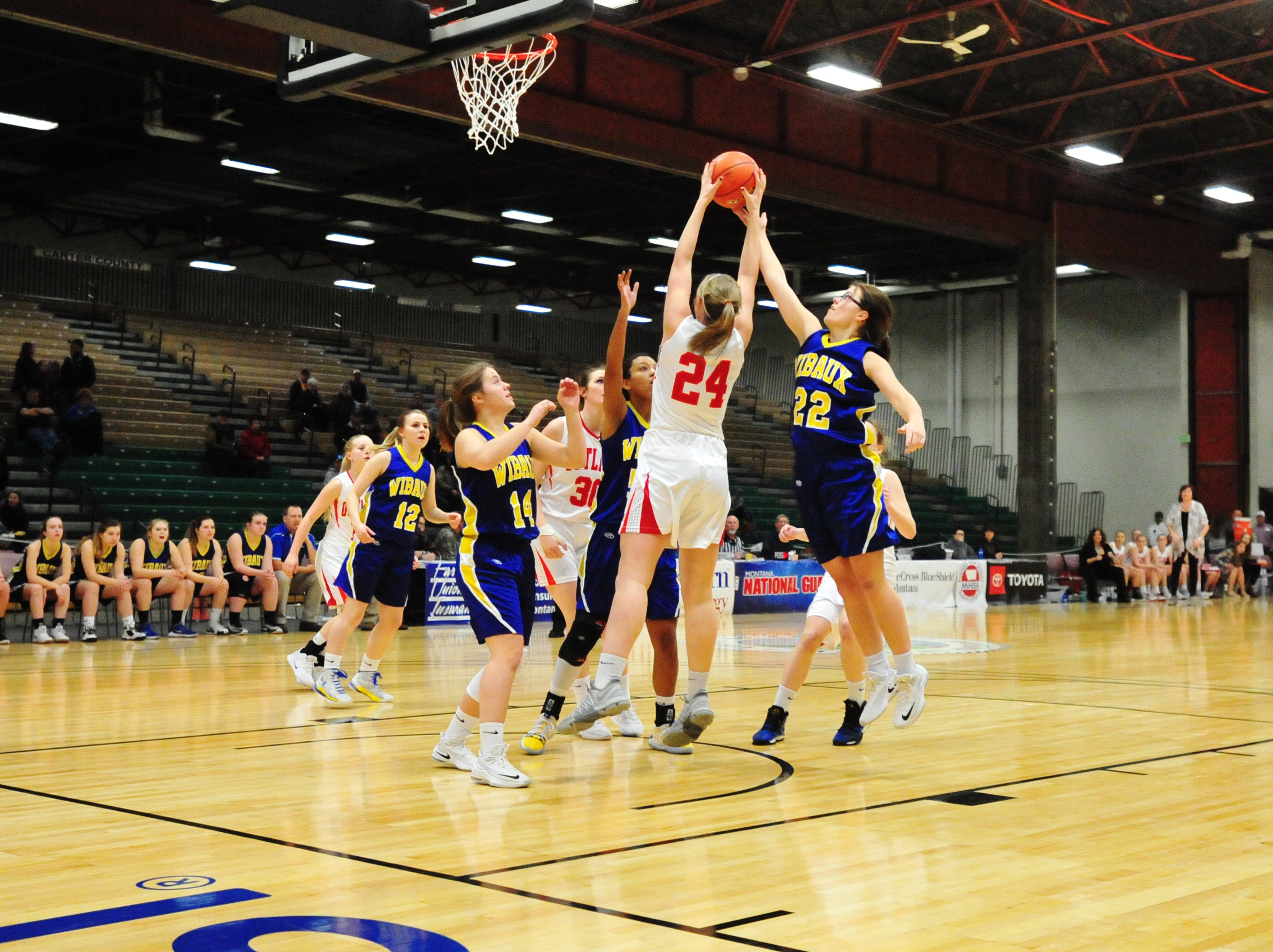 Roy-Winifred and Wibaux play in the first round of the Girls State C Basketball Tournament on Thursday in the Four Seasons Arena.