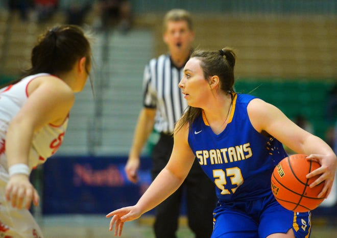 ShaAnn Danelson of Scobey controls the basketball against Arlee Thursday afternoon at the State C girls' basketball tournament at Pacific Steel and Recycling Four Seasons Arena.