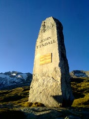 A memorial to scientist and mountaineer John Tyndall is above Belalp in the Swiss Alps.