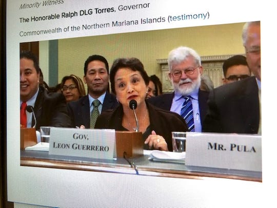 A screen grab of Guam Gov. Lou Leon Guerrero as she addresses members of the full U.S. House Natural Resources Committee on Wednesday. Also in the frame are CNMI Gov. Ralph Torres, left, Leon Guerrero's chief of staff Tony Babauta and the governor's husband, Attorney Jeff Cook.