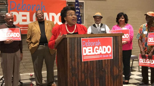 Hattiesburg Ward 2 Councilwoman Deborah Delgado announced she is running for Mississippi Senate District 34 on Wednesday, Feb. 27, 2019, at Laurel Train Depot.