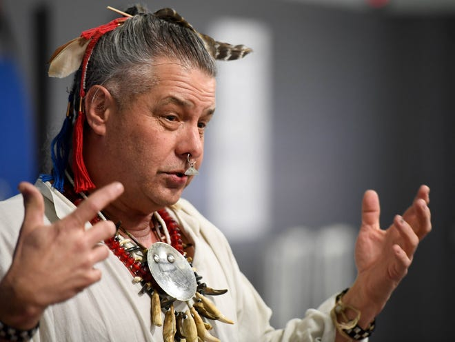 Traditional Cherokee storyteller and historian Anthony Martin talks with fifth graders at East Heights Elementary school about Native American culture and practices in a program sponsored by the Henderson Area Arts Alliance Wednesday, February 27, 2019.