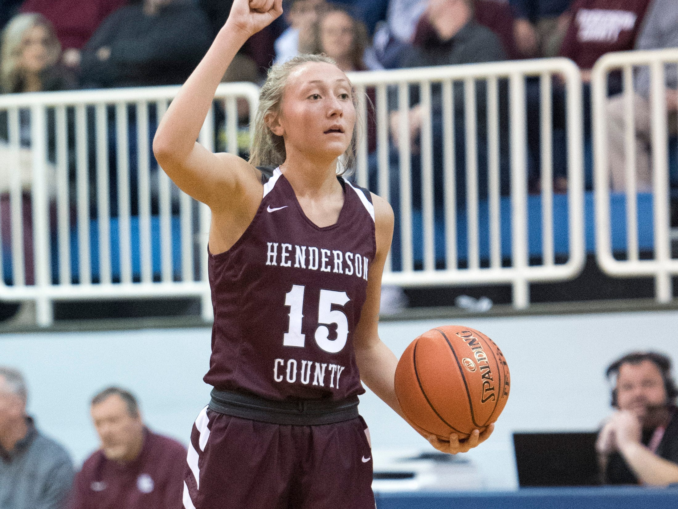 Henderson County's Alyssa Dickson (15) calls a play during the Trigg County Lady Wildcats vs Henderson County Lady Colonels game of the 2nd Region Tournament at Crittenden County's Rocket Arena Wednesday, Feb. 27, 2019.