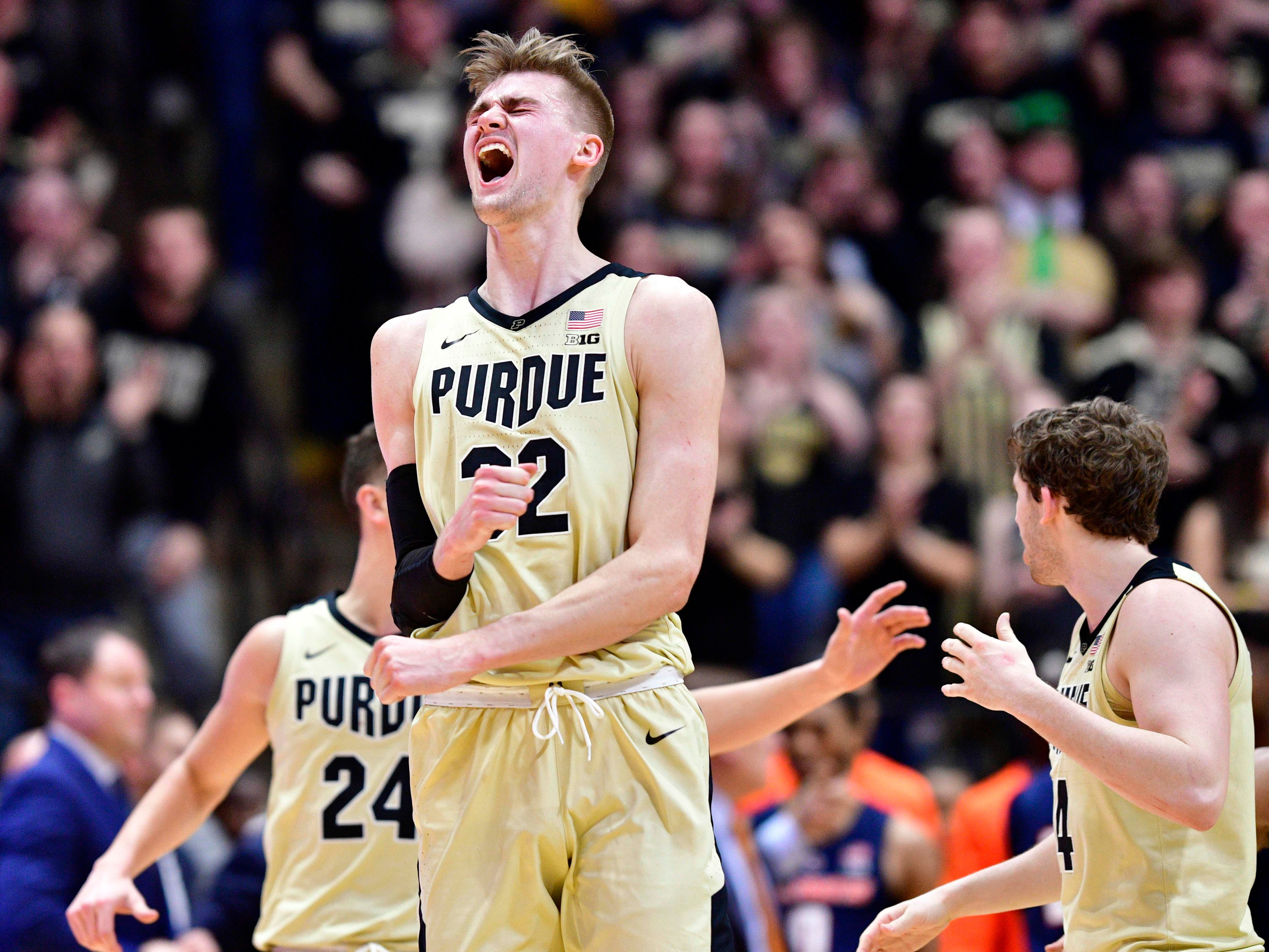 Feb 27, 2019; West Lafayette, IN, USA; Purdue Boilermakers center Matt Haarms (32) celebrates during the second half of the game at Mackey Arena. The Purdue Boilermakers defeated the Illinois Fighting Illini 73 to 56.