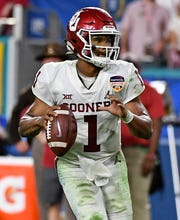 Dec 29, 2018; Miami Gardens, FL, USA; Oklahoma Sooners quarterback Kyler Murray (1) scrambles in the 2018 Orange Bowl college football playoff semifinal game against the Alabama Crimson Tide  at Hard Rock Stadium. Mandatory Credit: Jasen Vinlove-USA TODAY Sports