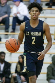 Cathedral's Armaan Franklin (2) brings the ball down court during the first half of Cathedral vs. Carmel High School varsity boys basketball held at Carmel High School, January 9, 2019.