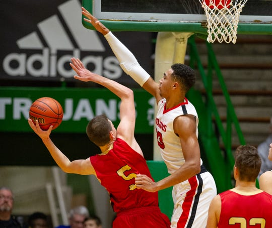 FILE -- Trayce Jackson-Davis, playing Westview earlier this season, leads Center Grove to a sectional championship.