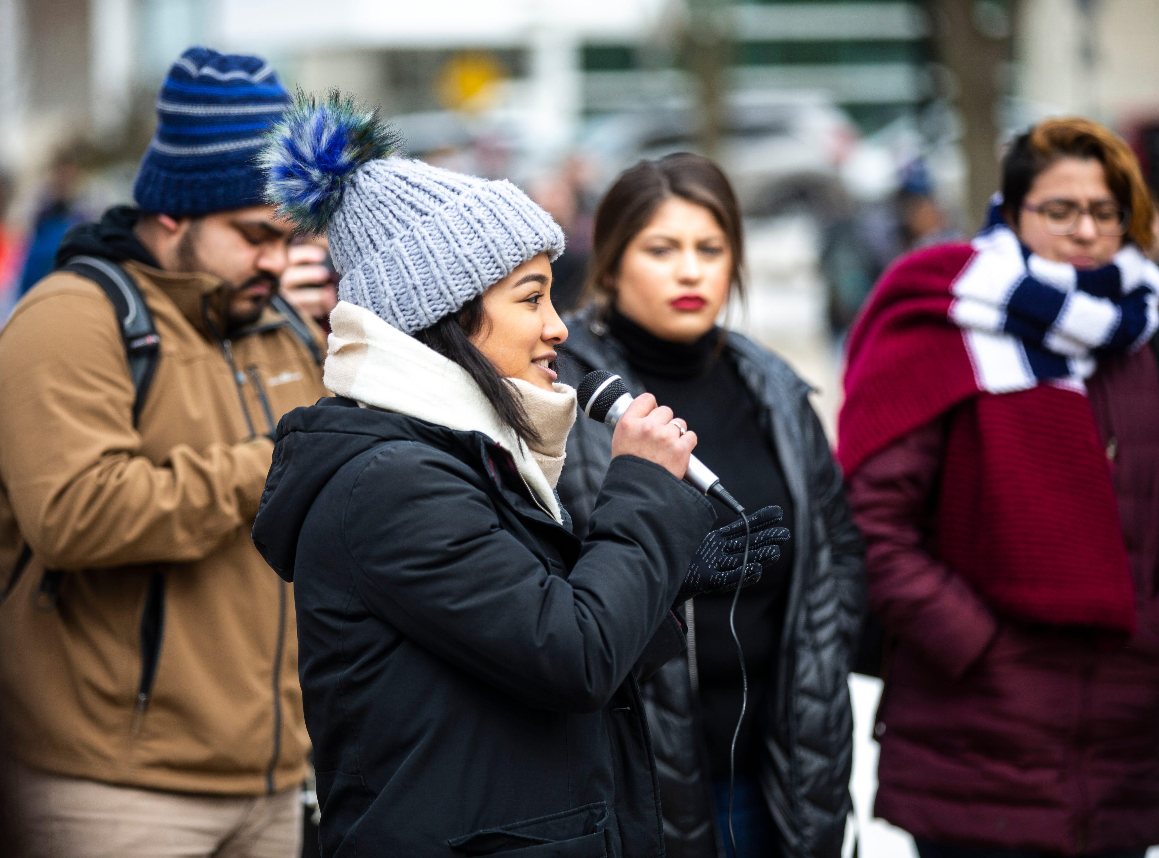 "University of Iowa sophomore Miriam Porras speaks during a ""speak out"" event organized by the ""#DoesUIowaLoveMe"" group on Thursday, Feb. 28, 2019, along the T. Anne Cleary Walkway on the University of Iowa campus in Iowa City, Iowa."