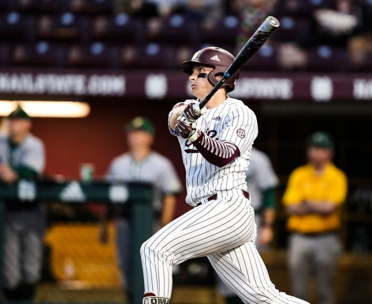 Mississippi State third baseman Justin Foscue is batting .306 this season with four home runs and 10 runs batted in. He's been a big part of a potent Bulldog lineup.