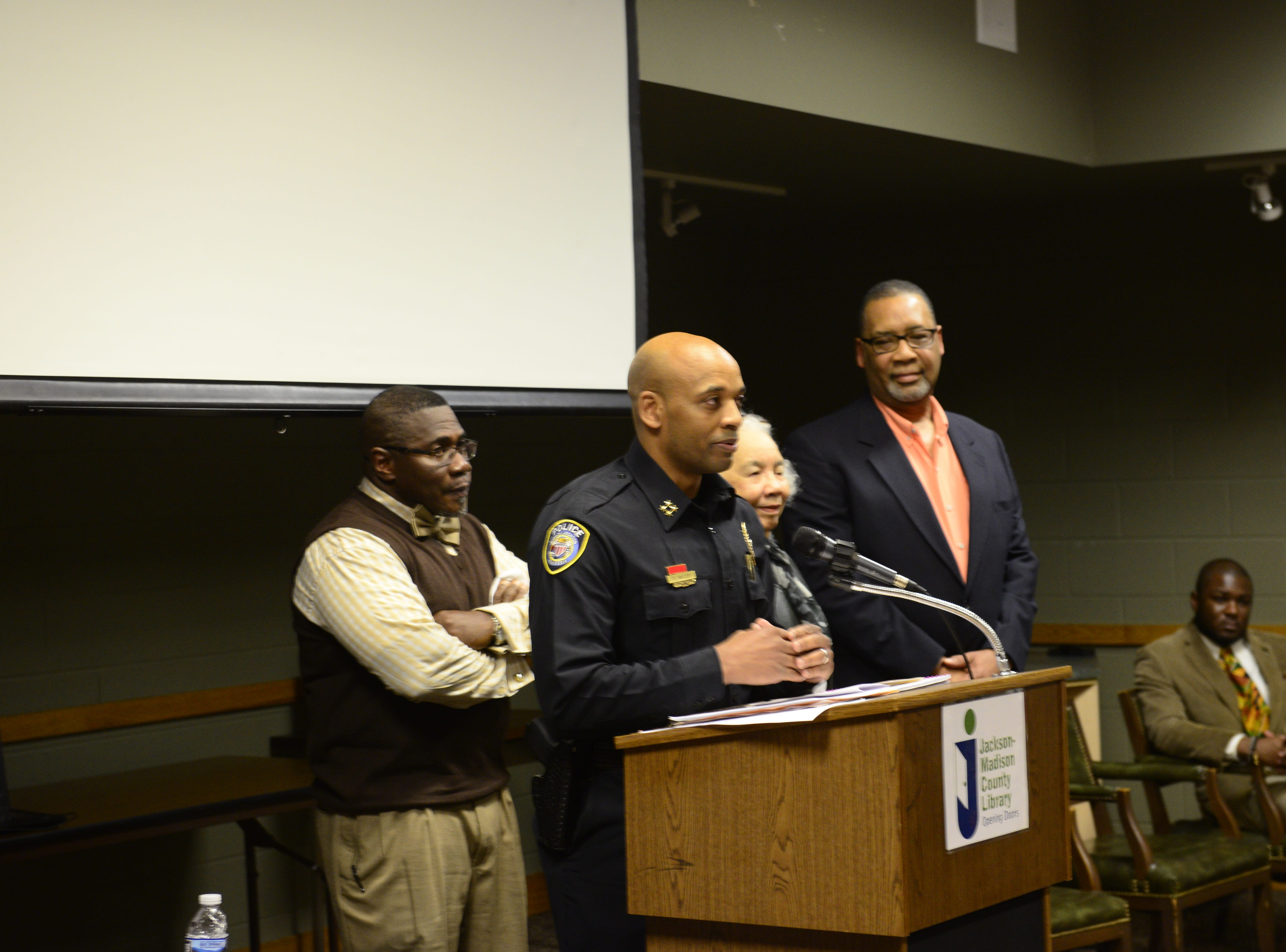 Jackson Police Department Deputy Chief Tyreece Miller speaks in honor of former JPD Deputy Chief James Cherry at the Jackson-Madison County Library in Jackson, Tenn. Feb. 27, 2019