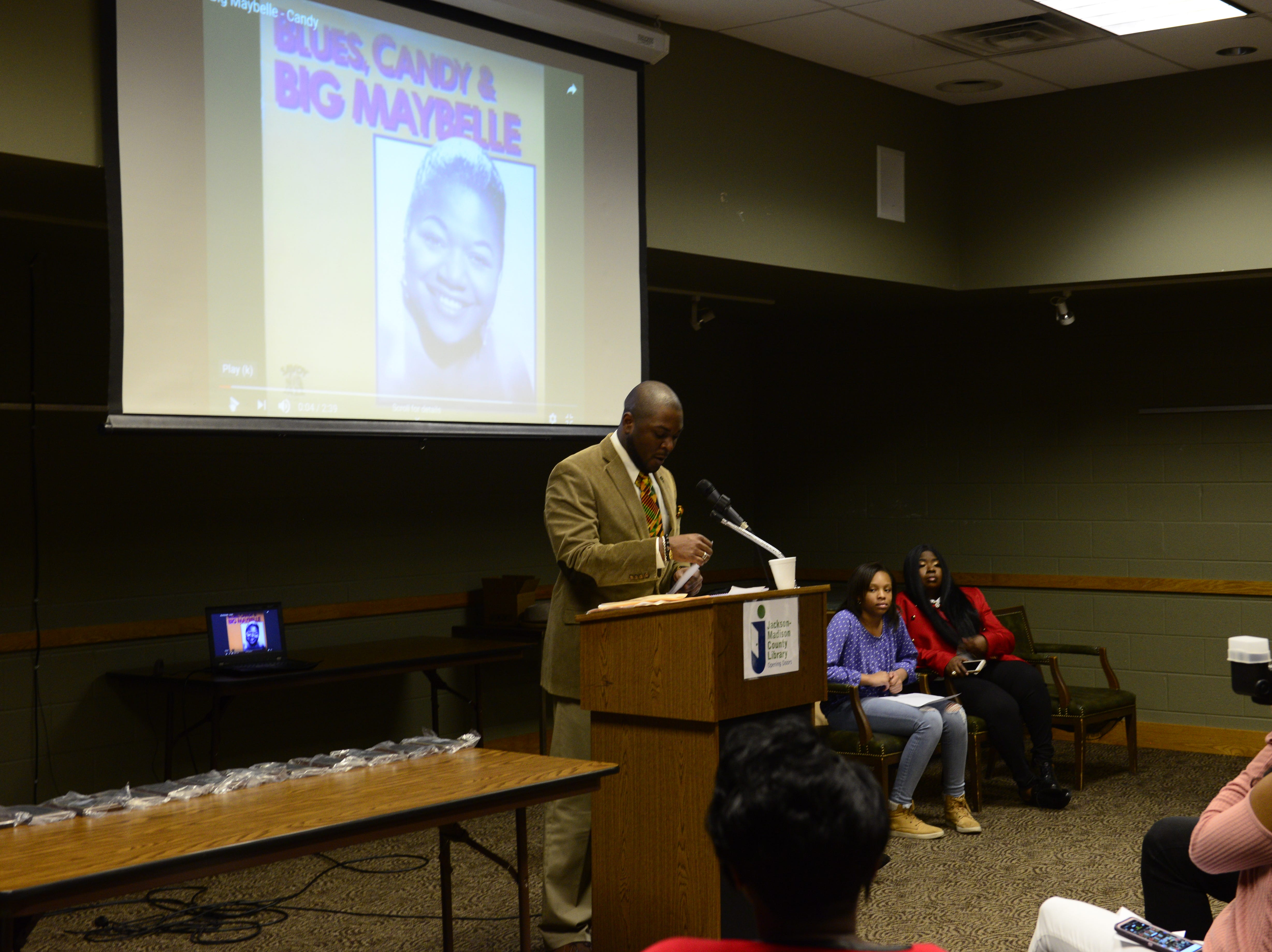 Byron Elam host a Black History Month Event at the Jackson-Madison County Library in Jackson, Tenn. Feb. 27, 2019