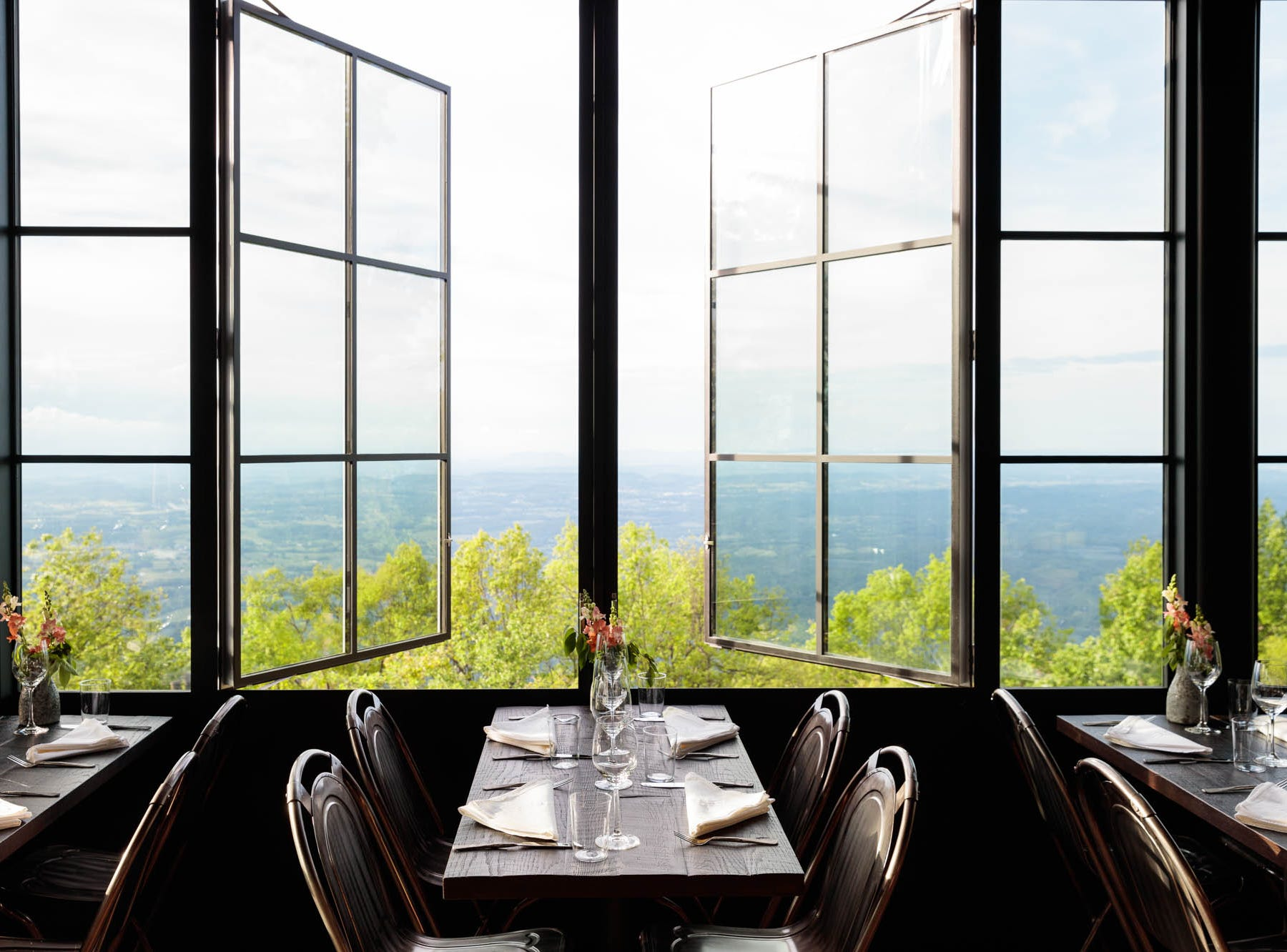 The views from Firetower restaurant on top of Blackberry Mountain, the luxury resort that just opened in Walland, Tennessee.