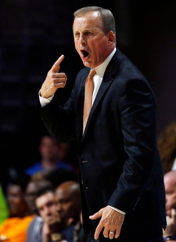 Tennessee head coach Rick Barnes signals his player during the second half of an NCAA college basketball game against Mississippi in Oxford, Miss., Wednesday, Feb. 27, 2019. Tennessee won 73-71. (AP Photo/Rogelio V. Solis)