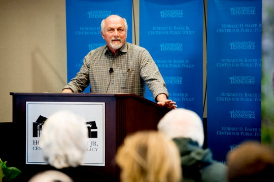 Dr. Gary E. Machlis speaks during a panel discussion about national parks hosted by the National Parks Conservation Association at the Howard Baker Center in Gatlinburg, Tennessee on Thursday, February 28, 2019.