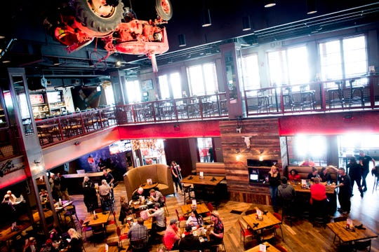 A view of country music singer Blake Shelton's Ole Red restaurant from the upstairs seating area. The $9 million venue, which features food, drink and live musical performances on a fully-outfitted stage, will have a soft opening March 4.