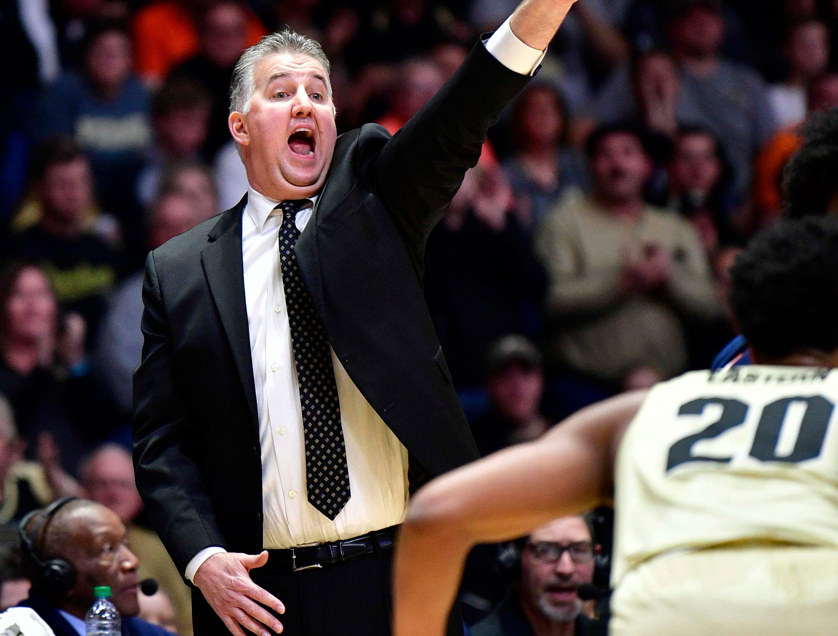 Feb 27, 2019; West Lafayette, IN, USA; Purdue Boilermakers head coach Matt Painter signals to his team during the first half of the game against the Illinois Fighting Illini at Mackey Arena. Mandatory Credit: Marc Lebryk-USA TODAY Sports
