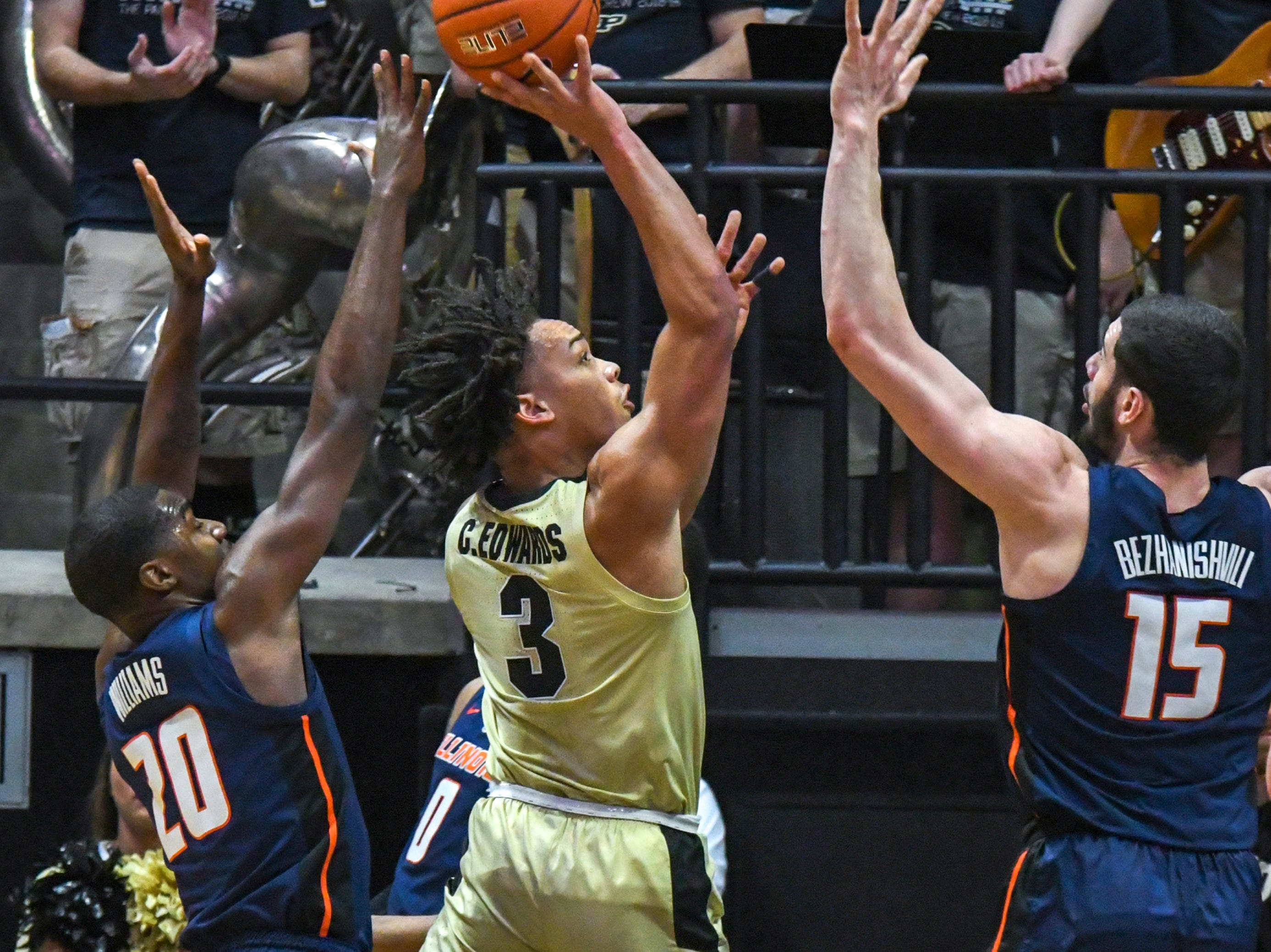 By Frank Oliver for the Journal and Courier --Action and reaction in Purdue's 73-56 win over Illinois on February 27, 2019 in West Lafayette.