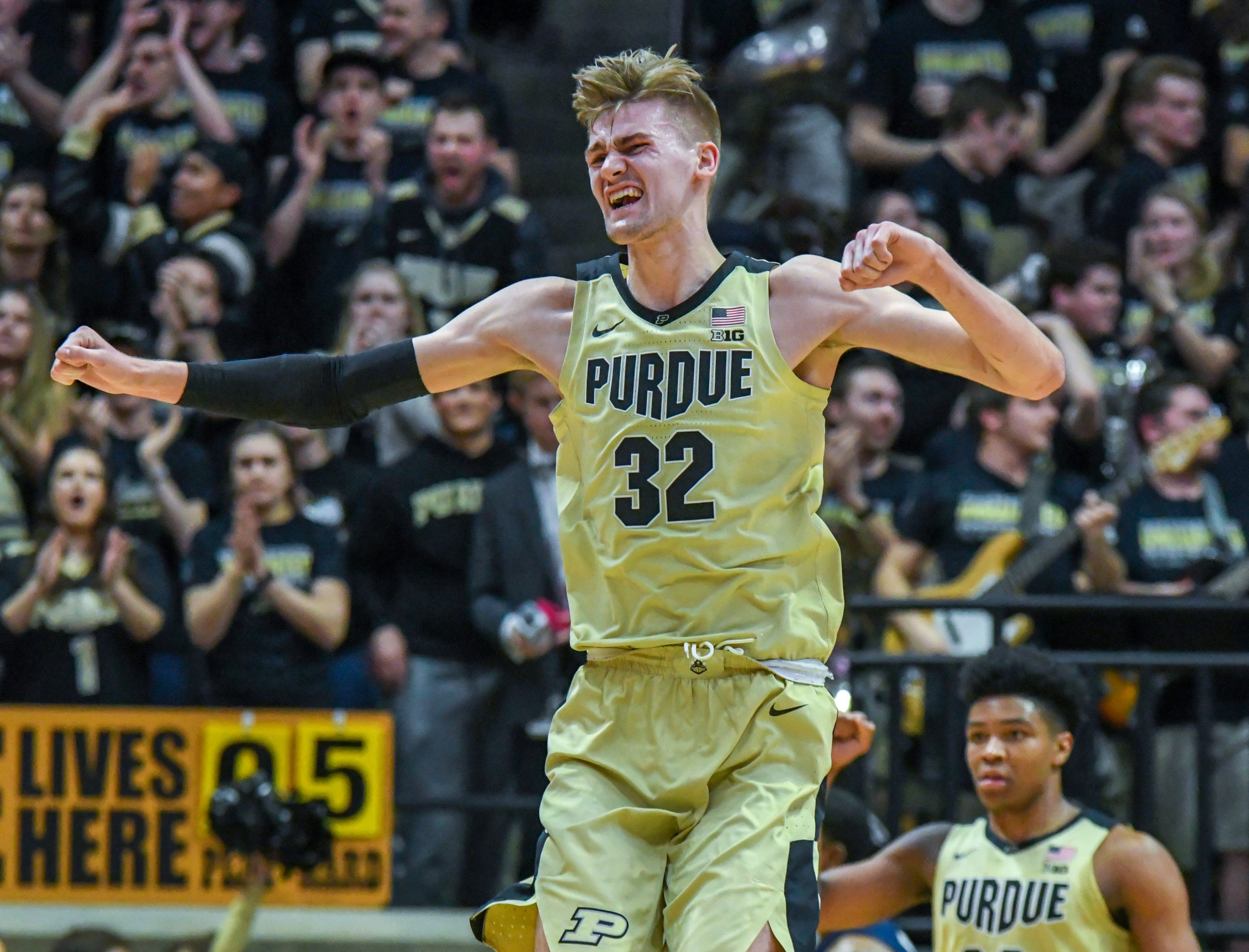 By Frank Oliver for the Journal and Courier --Purdue's Matt Haarms reacts to scoring a basket in the first half against Illinois on February 27, 2019 in West Lafayette.