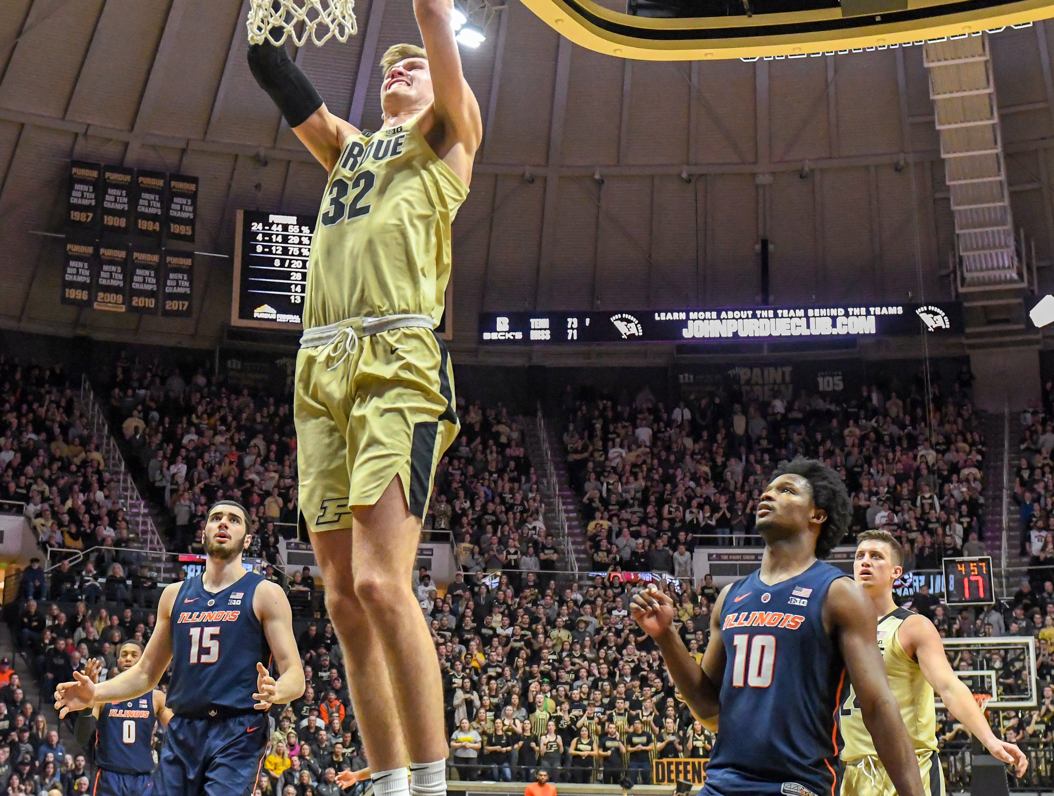By Frank Oliver for the Journal and Courier --Purdue's Matt Haarms scores on a slam dunk in Purdue's 73-56 win over Illinois on February 27, 2019 in West Lafayette.