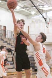 Brennen Killom scored a team-high 11 points for Pinckney in a 66-40 district basketball loss to Brighton on Wednesday, Feb. 27, 2019 at Dexter.