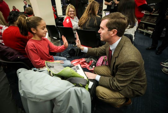 Chloe Crobo meets attorney general Andy Beshear, who encouraged teachers to make their voice heard during the recent legislative session.