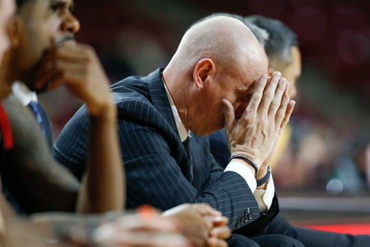 Chris Mack had a rough time on the sideline during the second half of Louisville's loss at Boston College.