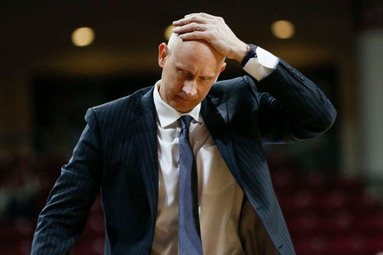 Feb 27, 2019; Chestnut Hill, MA, USA; Louisville Cardinals head coach Chris Mack reacts during the second half against the Boston College Eagles at Conte Forum. Mandatory Credit: Greg M. Cooper-USA TODAY Sports