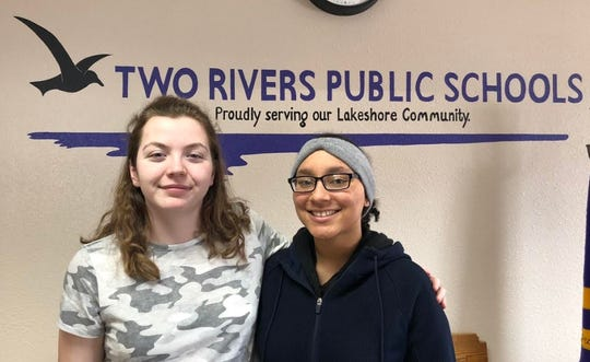 Two Rivers High School students McKenna Vogel (left) and Faison Rodgers.