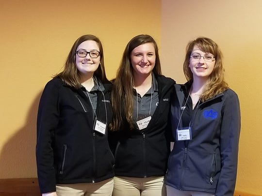 LTC students Elizabeth Benicke and Molly Henschel, and Northcentral Technical College student Kailey Schug took first place in Dairy Specialist Team competition at the state Professional Agricultural Student competition.