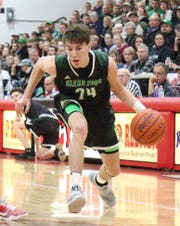 Clear Fork's Brennan South drives to the basket during the Colts' victory over Bellevue in the Division II sectional semifinal on Wednesday night at Bucyrus High School.