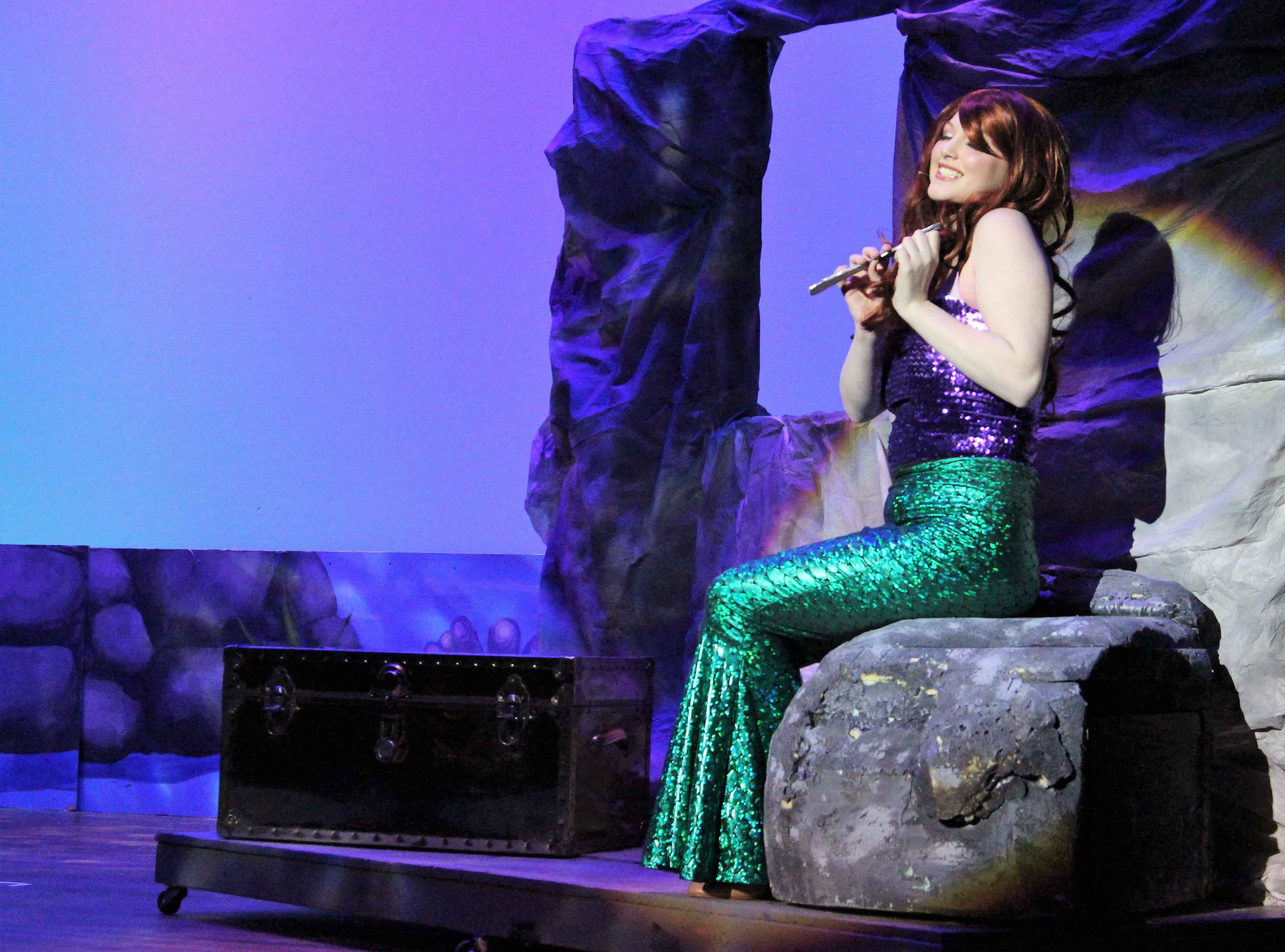 "Senior Madi Blankenship takes the Palace's stage as Princess Ariel during a Wednesday evening rehearsal of Disney's ""The Little Mermaid."" Showtimes are at 7:30 p.m. on Friday and Saturday, March 1 and 2, and at 2 p.m. on Sunday, March 3."