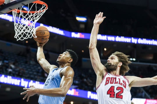 February 27, 2019 - Bruno Cabocio goes up for a shot during Wednesday night's game versus the Chicago Bulls at the FedExForum.