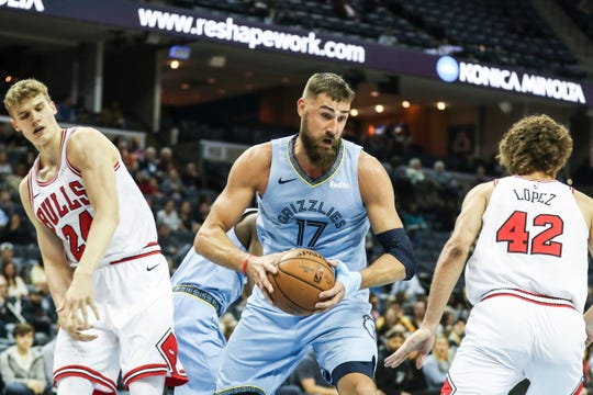 "Point guard Mike Conley described Memphis' Jonas Valanciunas as a player who ""just goes out there and tries to inflict as much pain on the other team as possible."""