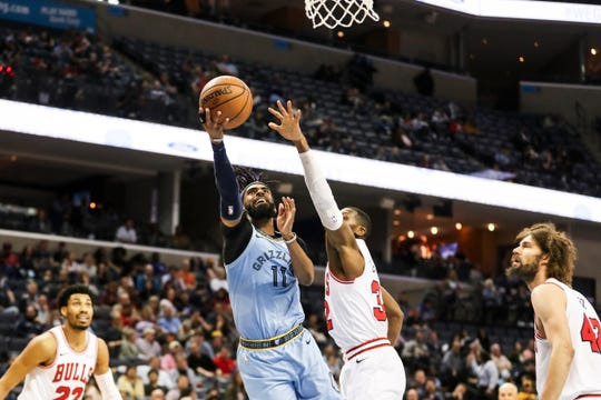 February 27, 2019 - Mike Conley goes up for a shot during Wednesday night's game versus the Chicago Bulls at the FedExForum.