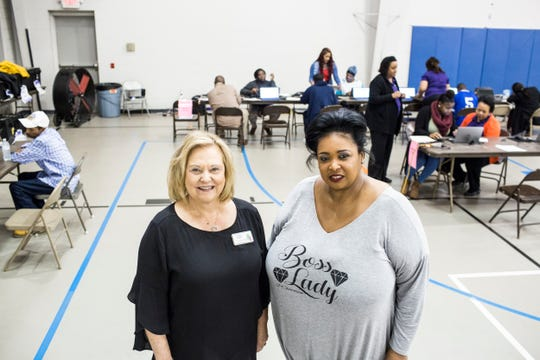 February 28, 2019 - Christi Webb, executive director of the Family Resource Center, left, and Pam Chatman, during a hiring blitz event held by FedEx in Cleveland, Mississippi. Five nights a week, FedEx Express buses nearly 200 employees from Cleveland, Mississippi to its Memphis World Hub Ñ a four-hour round trip each work day.