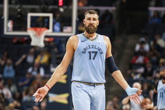 February 27, 2019 - Jonas Valanciunas reacts to a call during Wednesday night's game versus the Chicago Bulls at the FedExForum.