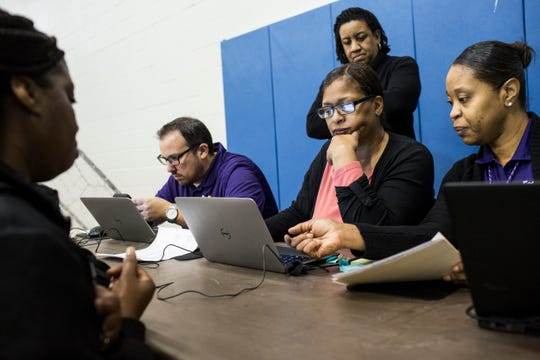 February 28, 2019 - Rita Bynum, second from right, and Latrece Baggett, right, work with an applicant during a hiring blitz event held by FedEx in Cleveland, Mississippi. Five nights a week, FedEx Express buses nearly 200 employees from Cleveland, Mississippi to its Memphis World Hub Ñ a four-hour round trip each work day.