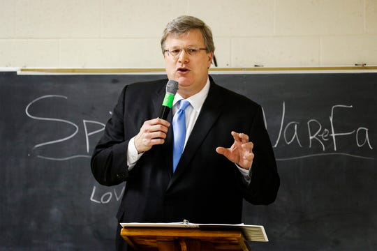 Mayor Jim Strickland speaks to community members during the Frasyer Exchange Club luncheon Thursday afternoon.