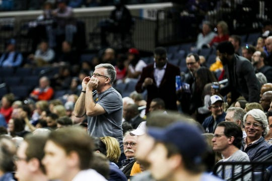 February 27, 2019 - A fan yells out during Wednesday night's game versus the Chicago Bulls at the FedExForum.