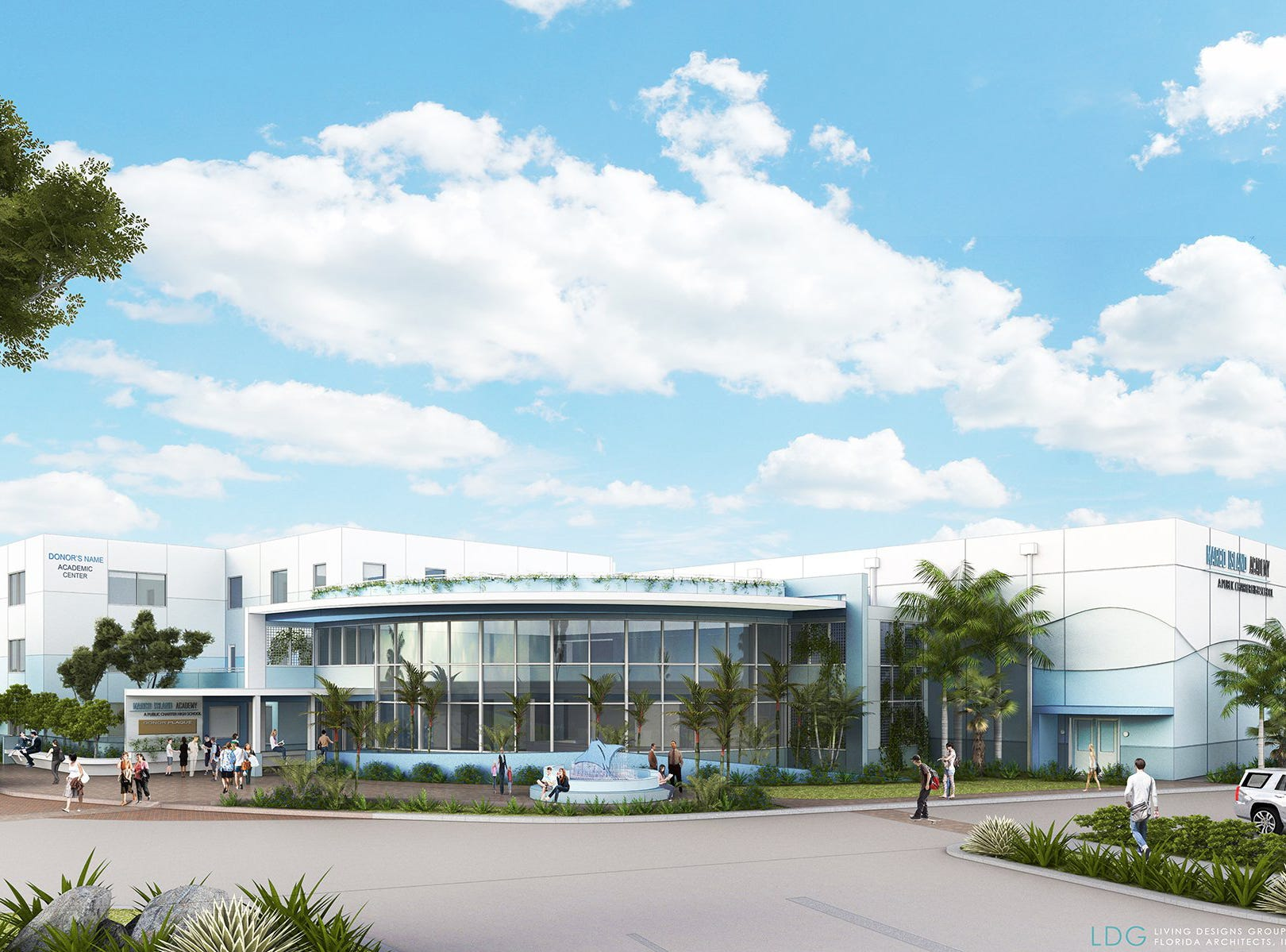 A rendering shows the proposed academic center. Marco Island Academy is embarking on a capital campaign to raise millions of dollars and give the school a permanent home, after years of operating in prefab modules.