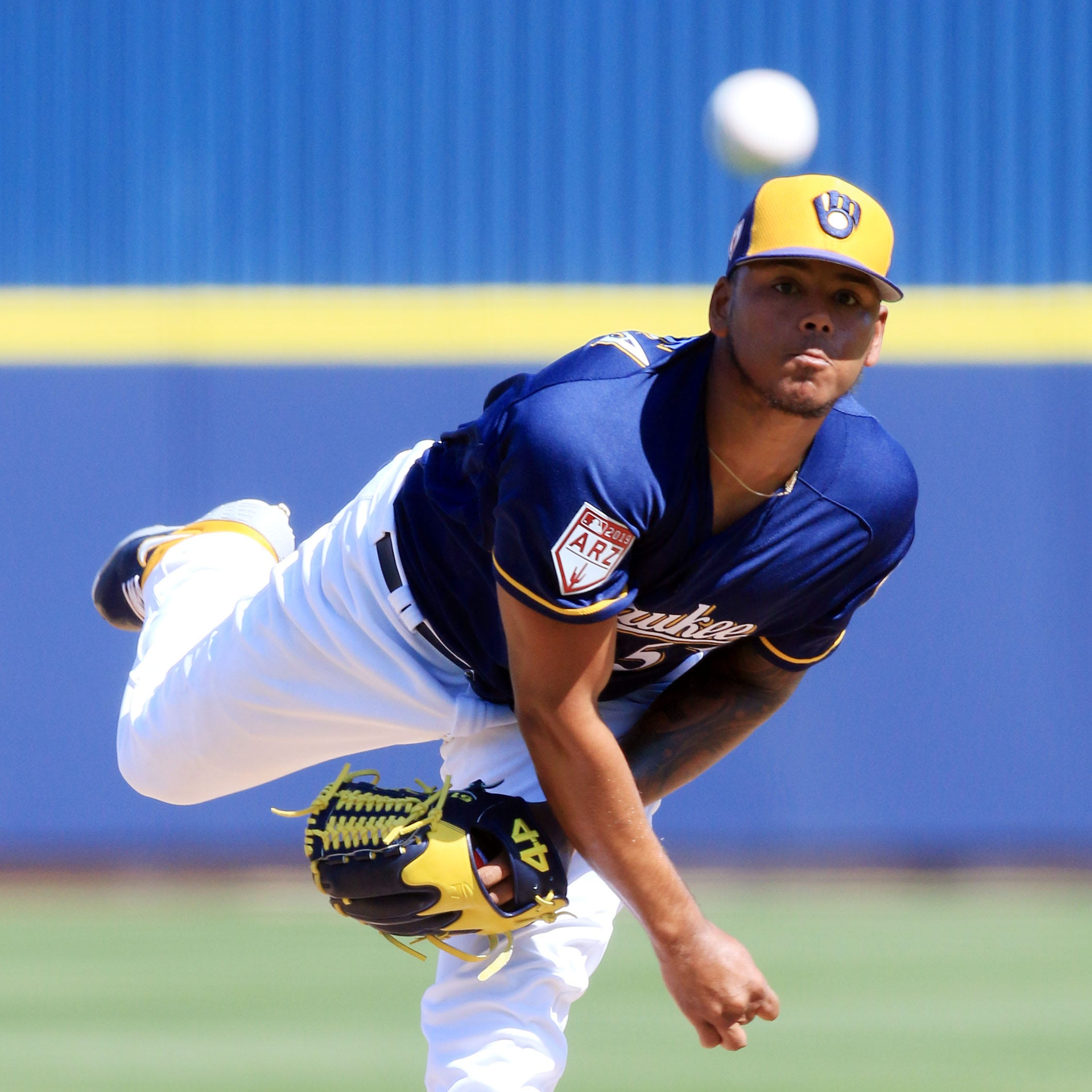 Milwaukee Brewers Freddy Peralta delivers a pitch...
