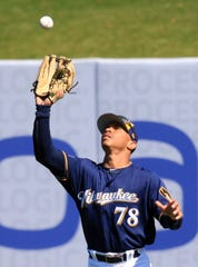 Brewers rightfielder Cory Ray looks a fly ball into his glove during the third inning against the Indians on Wednesday.