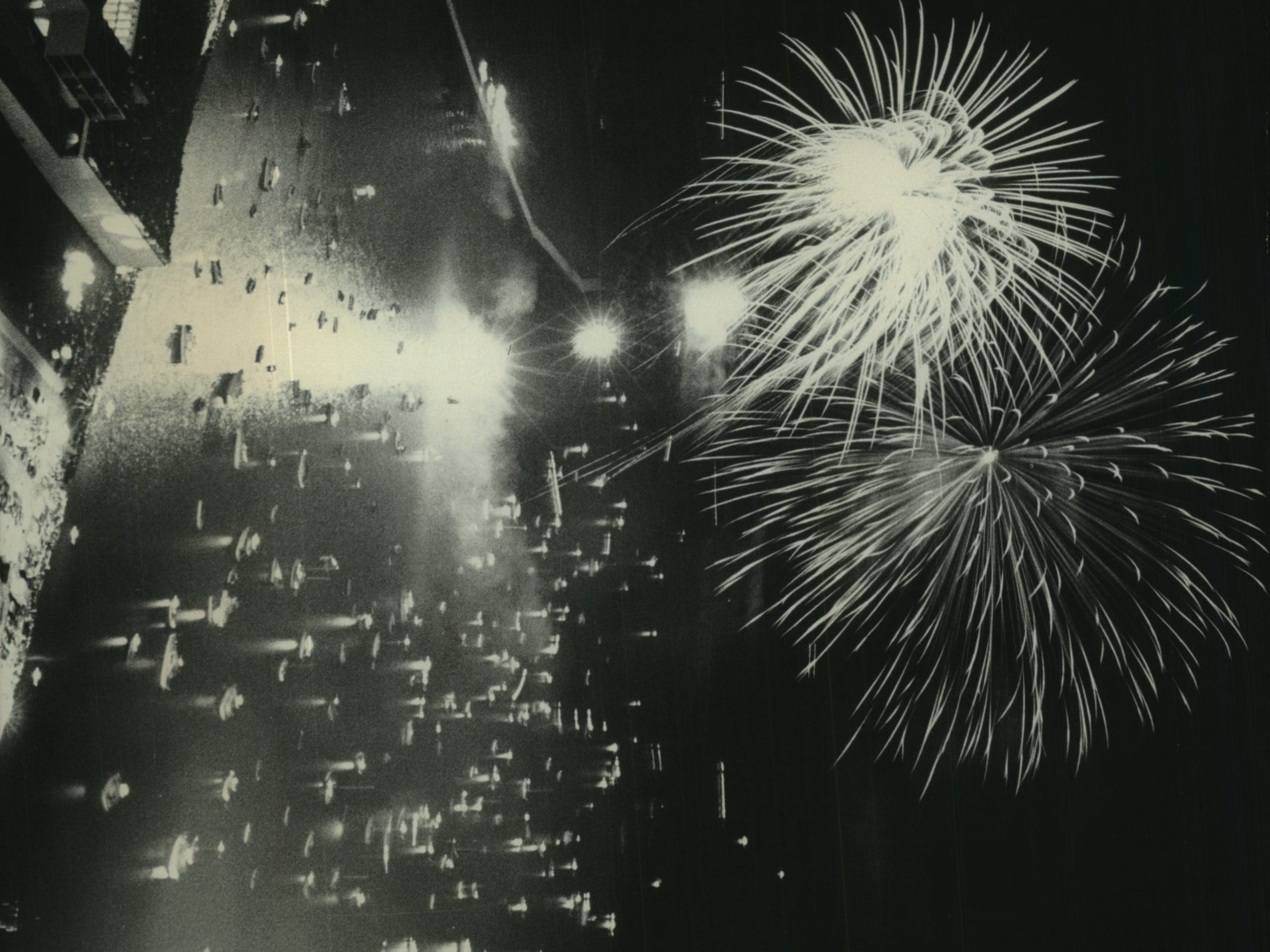 Fireworks explode over Milwaukee's lakefront during a bicentennial display sponsored by Jos. Schlitz Brewing Co. on July 4, 1976. The photo looks northeast from the 41st floor of what is now the U.S. Bank Building. This photo was published in the July 6, 1976, Milwaukee Journal.